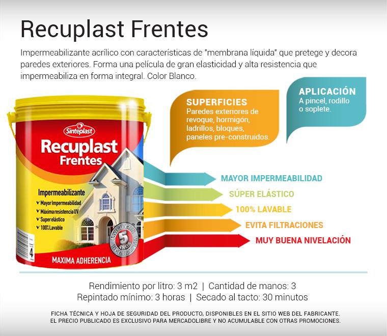 Recuplast frentes pintura impermeabilizante 20lts - Pintura para exteriores precios ...